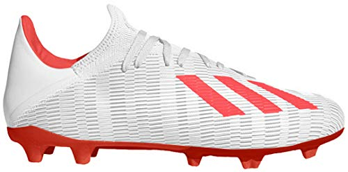 adidas Men's X 19.3 Firm Ground Soccer Shoe, Silver Metallic/hi-res red/White, 10.5 M US