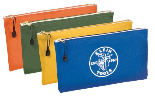 Utility Bag, Zipper Tool Bags in Olive, Orange, Blue, Yellow, 12.5-Inch Canvas, 4 Piece Klein Tools 5140