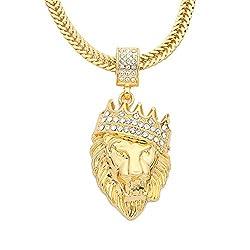 Gold Plated Rhinestone Lion Pendant Necklace