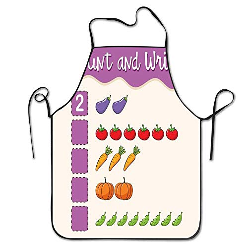 LongWEApron Custom Adjustable Math Worksheet Template Count and Write Aprons Unisex Kitchen Novelty Bib Apron with Adjustable Neck for Cooking Gardening Grill BBQ,Adult Size]()