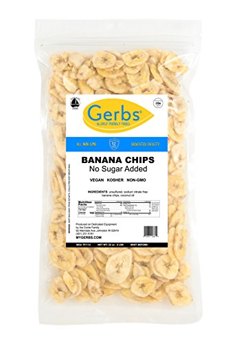 Banana Chips Unsweetened, 2 LBS – Unsulfured & Preservative Free - Top 12 Allergy Friendly & NON GMO by Gerbs - Product of Philippians ()