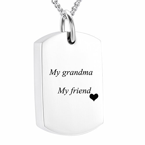 (DIYjewelry Inc Engravable Blank Dog Tag Memorial Jewelry Cremation Ashes Necklace Urn Pendant Keepsake (my grandma my friend))