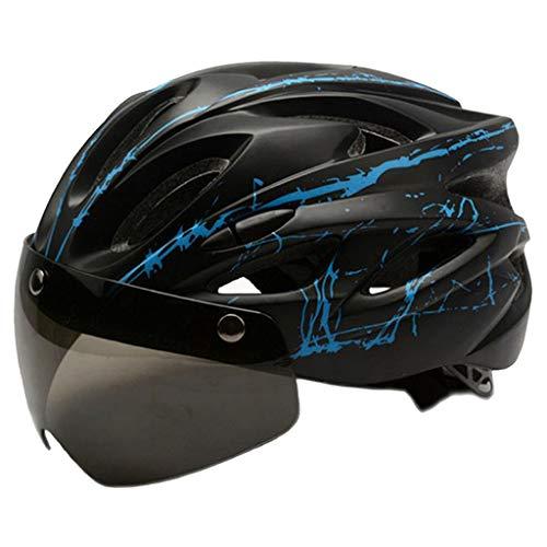 FLAMEER Fietshelm, MTB-helm Verstelbare Racefietshelm, met Afneembare Oogbescherming, Veiligheidsbril met Oplaadbare…