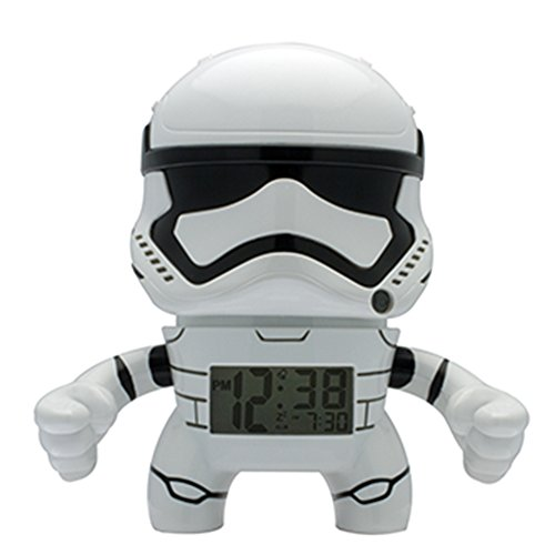 tormtrooper Kids Light up Alarm Clock | White/Black | Plastic | 7.5 inches Tall | LCD Display | boy Girl | Official ()