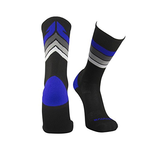 buy Epivive Retro Refresh Basketball Crossfit Lacrosse Socks (Black/Blue, Small) for sale