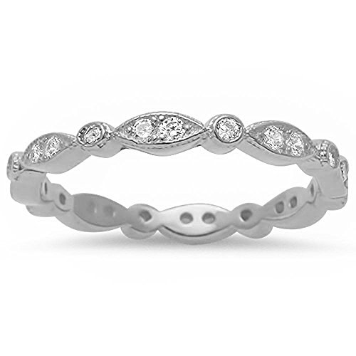 Marquis & Round Cubic Zirconia Eternity Band .925 Sterling Silver Ring Size 5