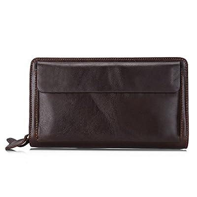 MuLier Mens Genuine Leather Clutch Bag Handbag Organizer Checkbook Wallet Card Case