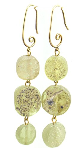 Ancient Roman Glass Earrings Soft Green Artisan Created Gift Boxed