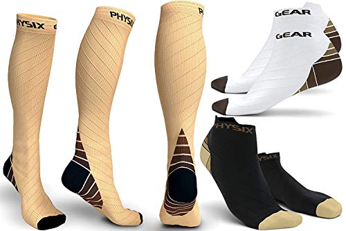 - 3 Pack Compression Socks for Men & Women 20-30 mmhg, Best Graduated Athletic Fit for Running Nurses Shin Splints Flight Travel & Maternity Pregnancy -Boost Stamina Circulation & Recovery NUDE LXL