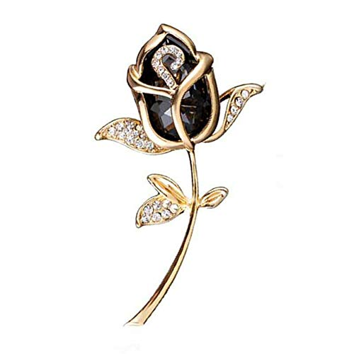 Design Floral Brooch - AILUOR Elegant Shining Crystal Rose Flower Brooch Pin, Fancy Beauty Floral Design Brooch Pins for Women Lady Bridal Wedding Corsage Bouquet Jewelry Christmas/Valentine's Gifts (Black)