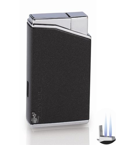 (Lotus L30 Twin Flame Torch Lighter and Punch Cutter Black Metallic/Polished Chrome)