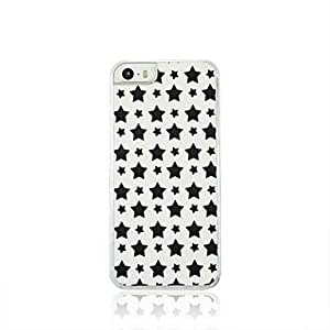 LIMME Black Five Pointed Star Leather Vein Pattern PC Hard Case for iPhone 5/5S