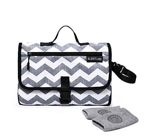 ELENTURE Diaper Changing Pad, Baby Infant Portable Travel Changing Station Mat Bag with Kneecap (Gray/White Wave)