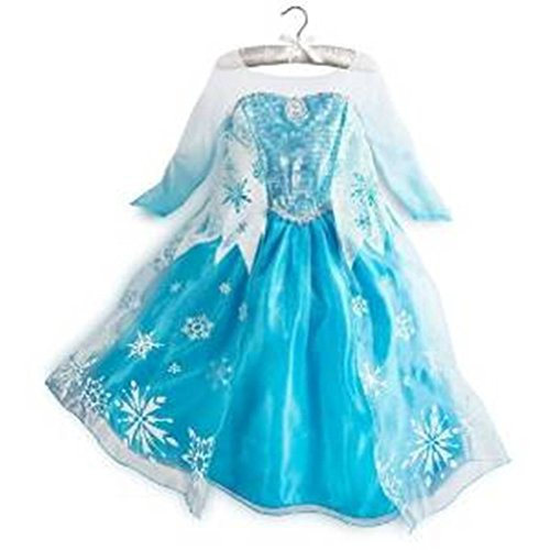 [Queen Elsa Snow Snowflake Dress Costume Cosplay (6T-7T) by Rush Dance] (Princess Jasmine Costumes Tiara)