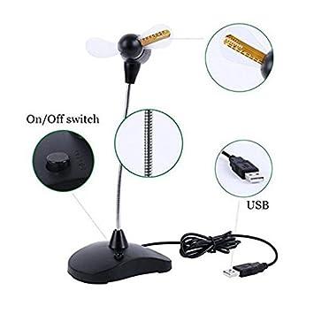 Lanbowo Ventilador portátil Flexible USB LED Reloj Ventilador con Pantalla de Tiempo de Soporte para Ordenador portátil de sobremesa hogar Oficina Uso: ...