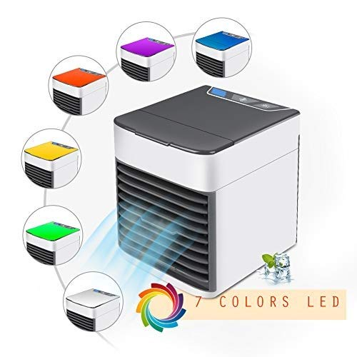 FU MAN LI Air Cooler, No Water-Leak Portable USB Air Conditioner Fan with Air Cooler, Humidifier, Purifier,Mini 7-Color Fashion Personal Space Cooler Desktop Fan for Office Household Outdoors