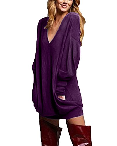 ZANZEA Women's V-Neck Long Sleeve Loose Blouse Jumper Tops Mini Dress Pullover Purple US 10-12/ASIAN L