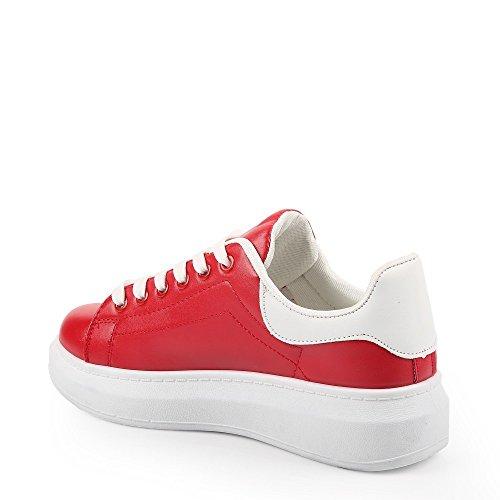 Ideal Shoes Baskets en Similicuir à Plateforme avec Patch de Couleur Caldin Rouge YE98nnzXD