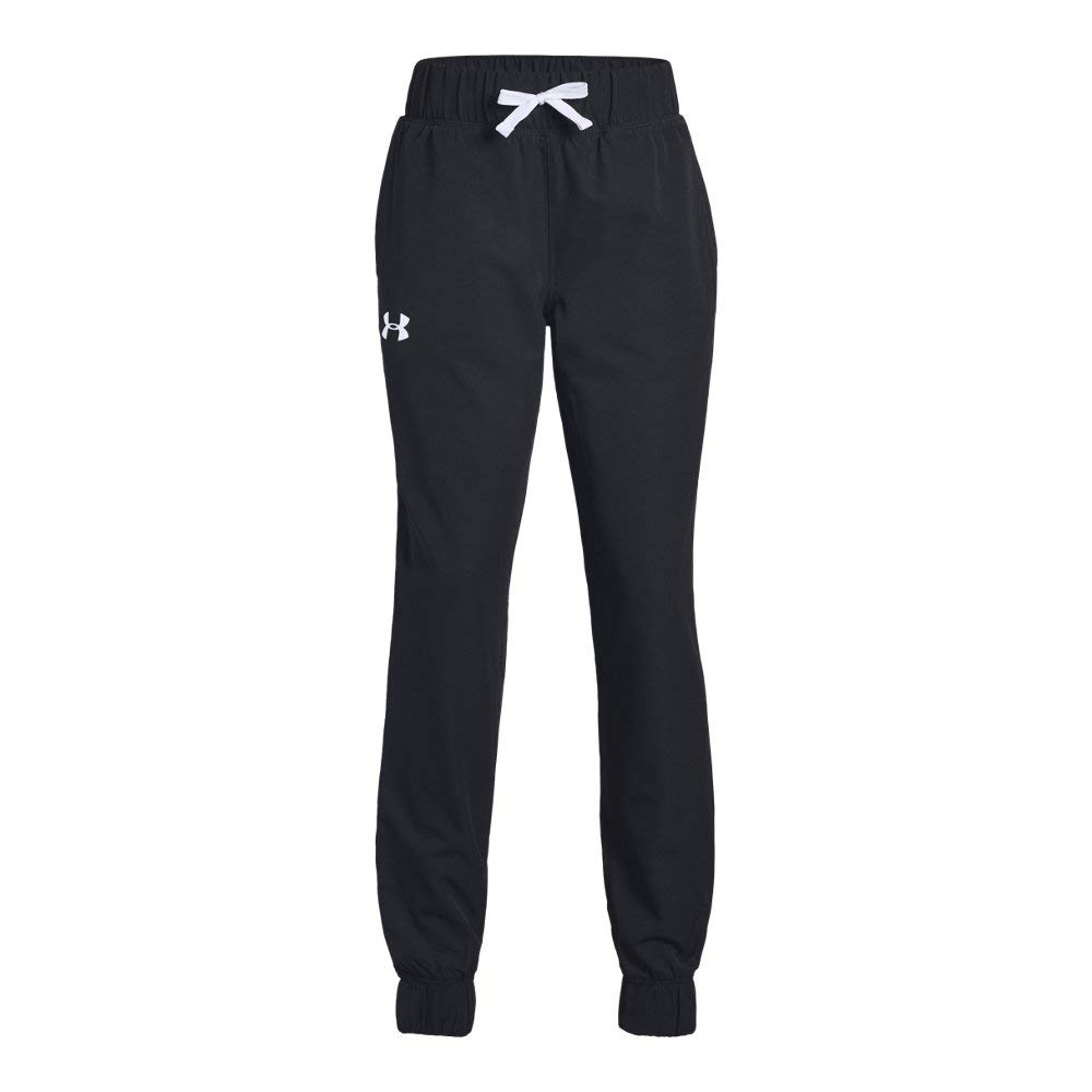 Under Armour Girls Jersey-Lined Woven Jogger, Black (001)/White, Youth X-Small