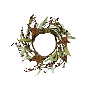 "CWI Gifts 4"" Rusty Star & Pips Wreath 2Pc, Multi 56"