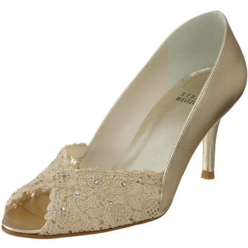 Stuart Weitzman Women's Chantelle Peep-Toe Pump,Gold Chantilly Lace,7 M US