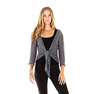 SHU-SHI Womens Sheer Shrug Tie Top Cardigan Lightweight Knit,Grey,One Size