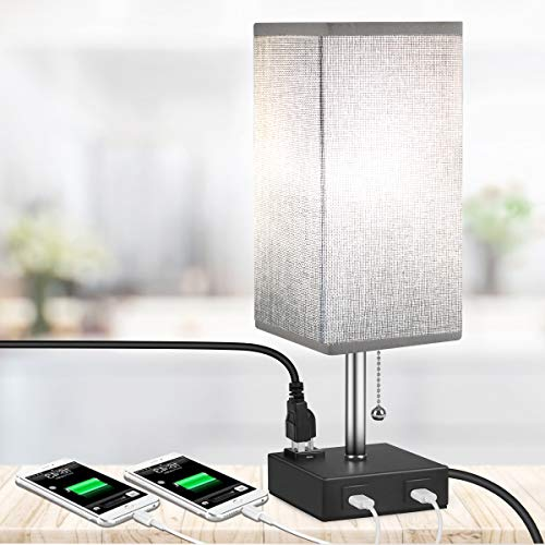 USB Table Lamp, MOICO Bedside Nightstand Lamp Square Fabric Shade with 2 USB Charging Port and 3-Prong AC Outlets, Modern Design Desk Lamps for Bedroom, Living Room, Kids Room, College Dorm, Bookcase