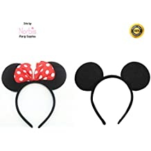Norbis Party Supplies Mickey Minnie Mouse Ears Headbands (Set of 2), Black