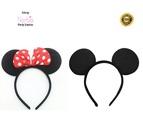Norbis Party Supplies Mickey Minnie Mouse Ears Headbands (Set of 2), (Minnie And Mickey Halloween)