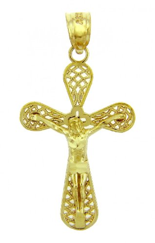 Solid 14k Yellow Gold Club Cross Charm Open Weave Crucifix Pendant