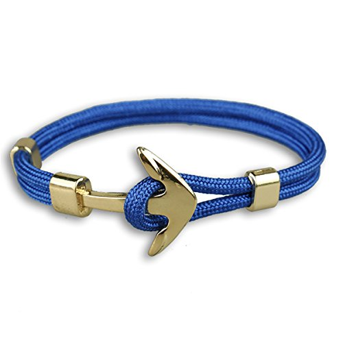 Happiness Jewelry Unisex Nylon Paracord Rope Sailing Bracelet With Nautical Anchor Alloy Clasp (Sapphire Blue / Gold)