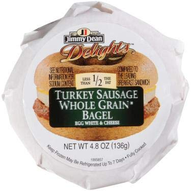 Jimmy Dean D lights Turkey Sausage, Egg White and Cheese Breakfast Sandwich Bagel, 4.8 Ounce - 12 per case.