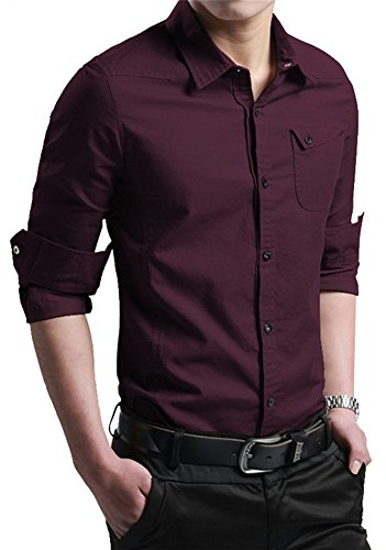 JZOEOEU Men's Casual Cotton Dress Shirt Long Sleeve Slim Fit Button Down Shirts WineRed Aisan L (US XS)