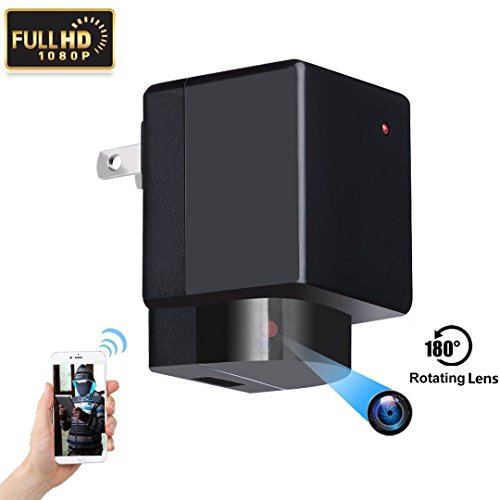 WiFi Hidden Camera Wall Charger Spy Camera HoHoProv HD 1080P Wireless Portable Security Camera Lens Support Left/Right 180° Rotation with Motion Detection