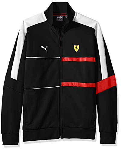 PUMA Men's Scuderia Ferrari T7 Track Jacket, Soft Pink Black, X-Large