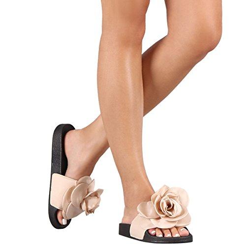 Bambu Womens Öppen Tå Dimensionerade Ros Blomma Flip Flops Slide Toffel Sandaler Skor Beige