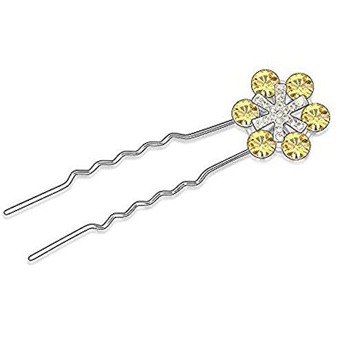 DEPOT TRESOR Pics chignon plaqué or blanc avec Cristal Swarovski Element NEUF Livraison gratuite Couleur - Jaune