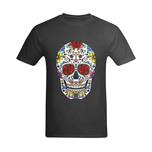 LittleArt Men's Sugar Skull Black T-Shirt - Fashion Tshirt US Size 8