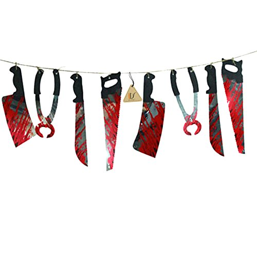 [Halloween Haunted House Party Hanging Bloody Weapons Garland Banner Decorations Props, 6.6ft] (Haunted House Prop)