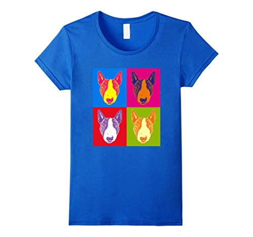 Womens Bull Terrier Pop-Art Shirt XL Royal Blue (Terrier Bull Art)