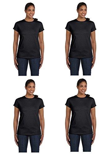 4-Pack Hanes Ladies Crew Neck T-Shirt, Ebony Black, ()