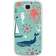 S4 Case,Samsung S4 Case,Galaxy S4 Case,ChiChiC full Protective Case slim durable Soft TPU Cases Cover for Samsung Galaxy S4 Galaxy S IV,navy anchor whale sea horse octopus