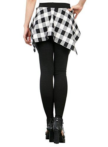 Ililily Women Inset Tied Over Plaid Checkered Shirt Around Waist Skirt Leggings  Black/White ...