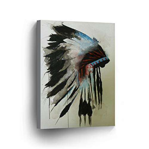 INDIAN WALL ART Native American Chiefs Headdress Feathered Watercolor Canvas Print Home Decor Decorative Artwork Gallery Wrapped Wood Stretched and Ready to Hang - %100 Handmade in the USA - 12x8