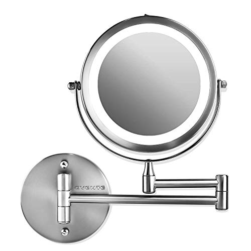 Ovente Lighted Wall Mount Makeup Mirror 7 Inch 1X 10X Concave Magnifier, Circle LED Double Sided, 360 Degree, Flexible…