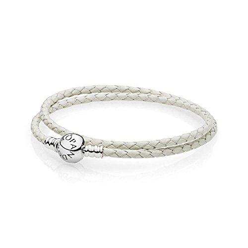 Pandora Women's 16in Bracelet White Leather Sterling Silver Jewelry 590745CIW-D3