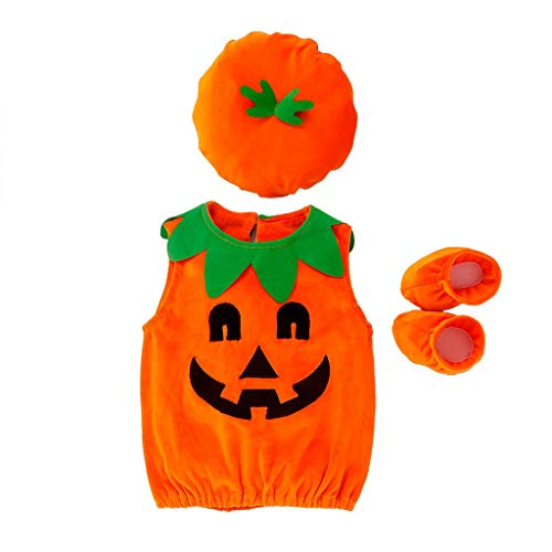 Mayunn 3-Pieces Toddler Baby Girls Cotton Halloween Demon Pumpkin Print Romper+Cap+Shoes Costume Outfits Set Clothes ()