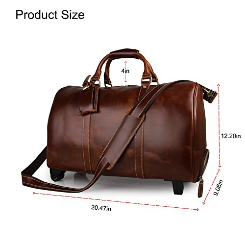 Mens Leather Travel Duffel Bag Brown Weekend Wheeled Carry ON Luggage Bags by Huntvp (Image #1)