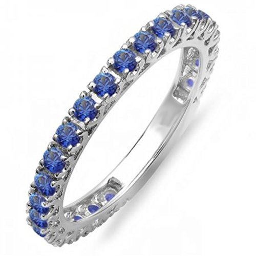 1.10 Carat (ctw) 14K White Gold Round Blue Sapphire Eternity Sizeable Stackable Ring Wedding Band 1 CT