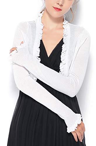 Chic Queen Women's Jersey Knit Open Front Ruffle Edge Bolero Shrug Long Sleeve Cardigan (L/IV) (Shrug Edge Ruffle)